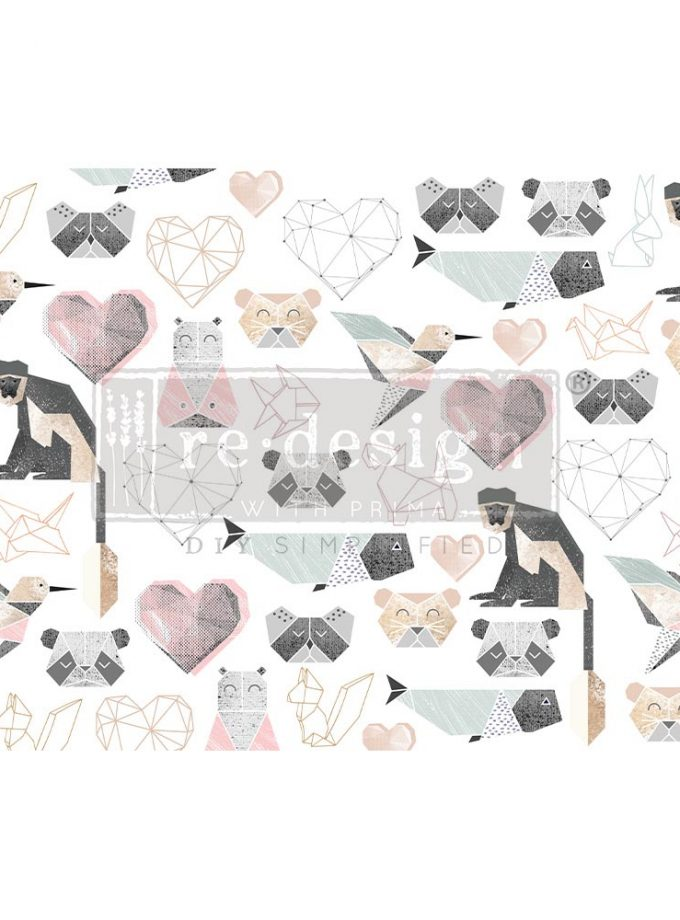 "Decoupage Decor Tissue Paper - Origami Love - 1 sheet, 19""x30"""