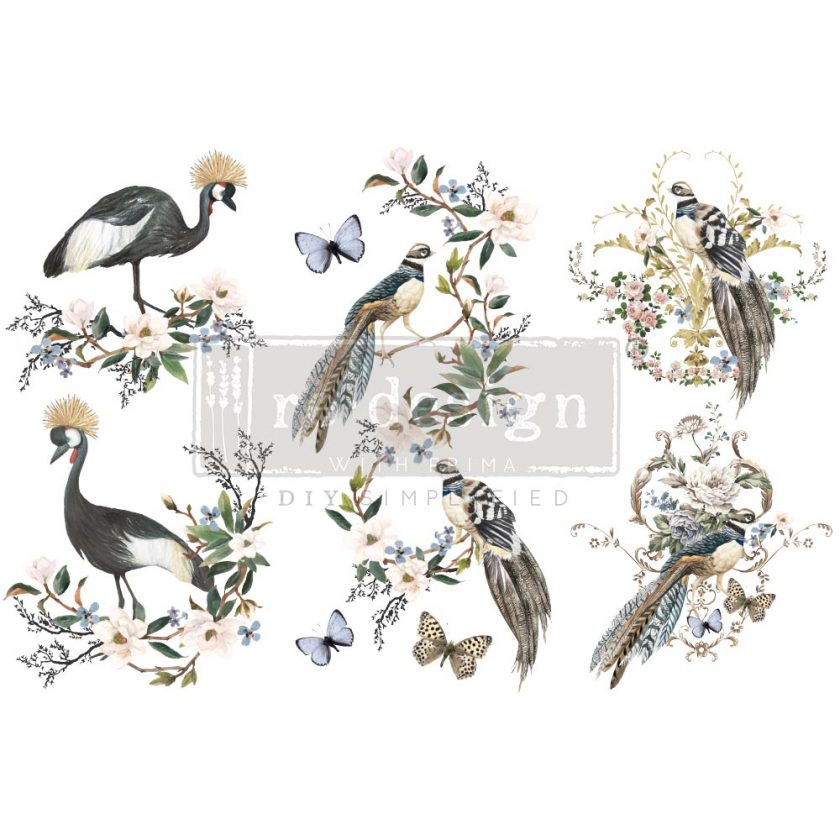 """Decor Transfers® - Rare Birds - 3 sheets, 6""""x12"""""""