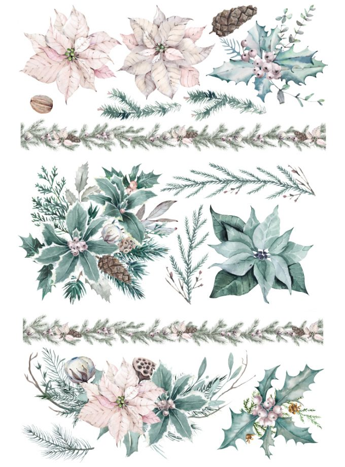 """Decor Transfers® - Evergreen Florals - total sheet size 24""""x35"""", cut into 3 sheets"""