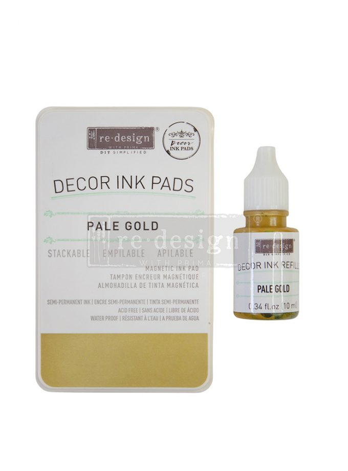 Décor Ink Pad - Pale Gold - 1 magnetic case + dry ink pad + 10ml ink bottle