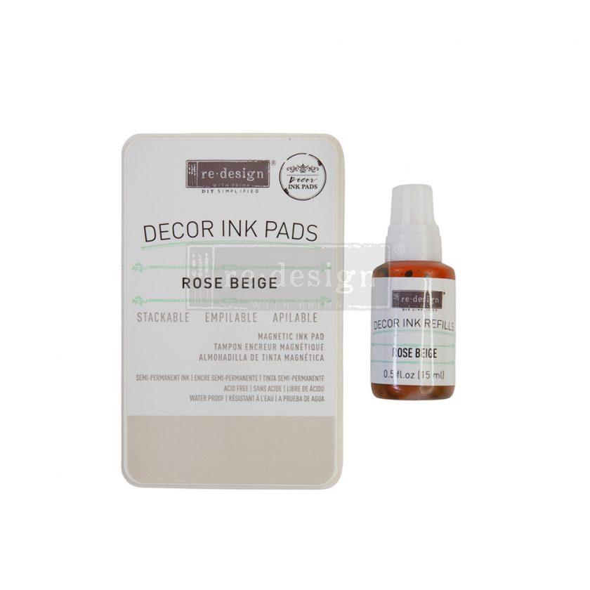 Décor Ink Pad  - Rose Beige - 1 magnetic case + dry ink pad + 10ml ink bottle