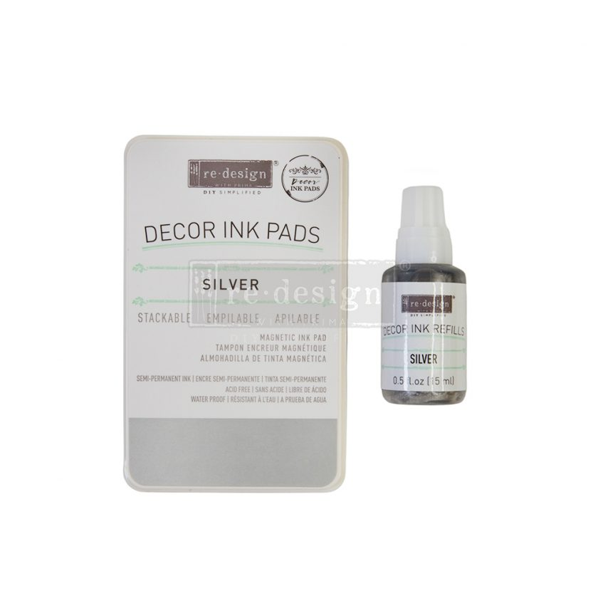 Décor Ink Pad - Silver - 1 magnetic case + dry ink pad + 10ml ink bottle