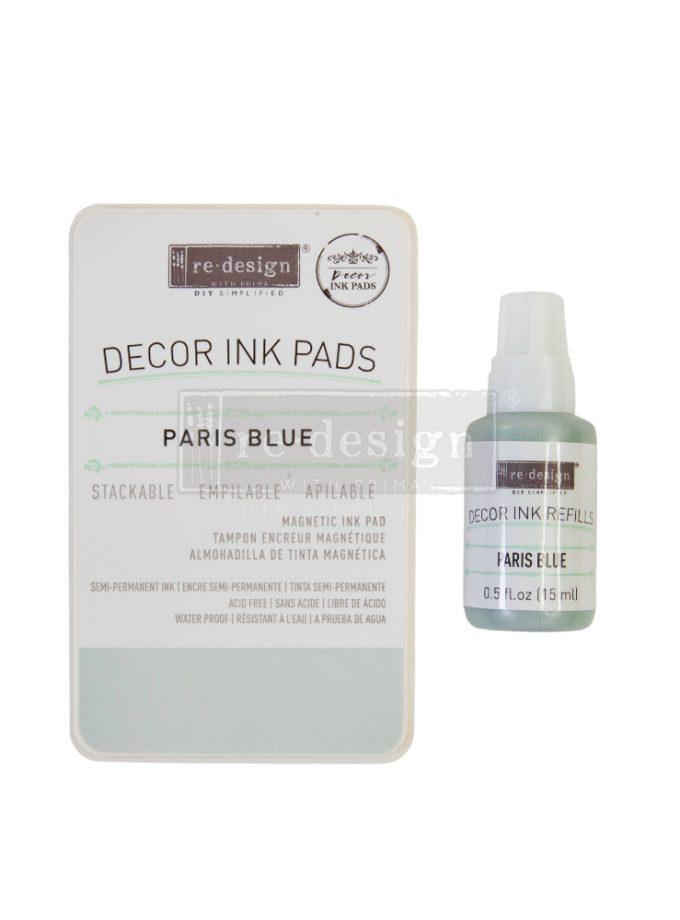 Décor Ink Pad - Paris Blue - 1 magnetic case + dry ink pad + 10ml ink bottle